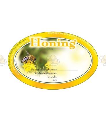 Ovaal geel honingetiket