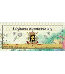 Aquarel Belgische bloemenhoning etiket (rechthoekig)