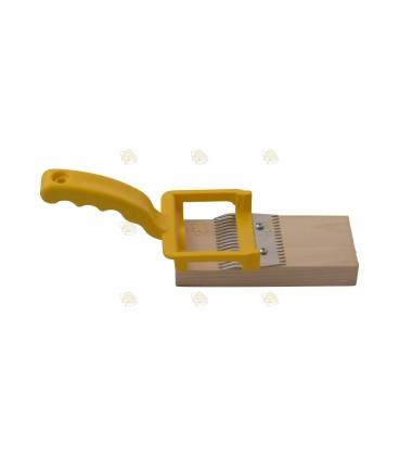 Ontzegelvork met ondersteuning geel
