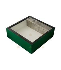 Voerbak voor de spaarkast groen gelakt polystyreen