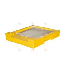 Bodem spaarkast geel gelakt polystyreen met varroalade