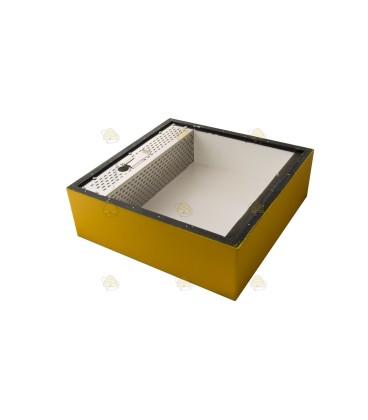 Voerbak voor de spaarkast geel gelakt polystyreen