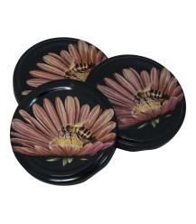 Bij op roze bloem, 63 mm TO deksel, 60 stuks