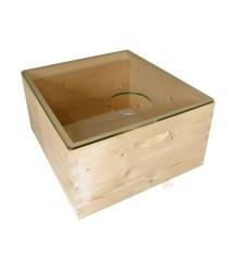 Spaarkast glazen dekplank met voergat 47,3 x 42,1 cm en bijenuitlaat metaal