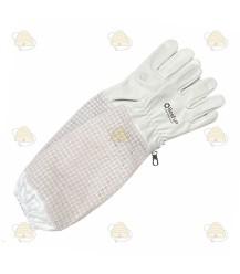 Imkerhandschoenen AirFree, leer & ventilatie wit (BeeFun)