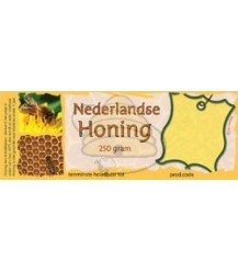 Honingetiket voor 250 gr met raat en bijtje