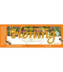 Honingetiket oranje voor 250 gr met bloemen