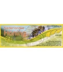 Honingetiket voor 250 gr geel met groen en bloem